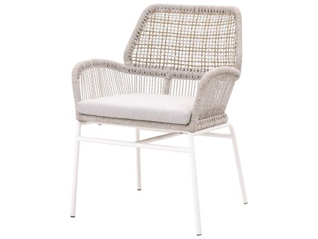 Essentials for Living Outdoor Woven White Taupe Knit Dining Arm Chair with Pumice cushion PatioLiving