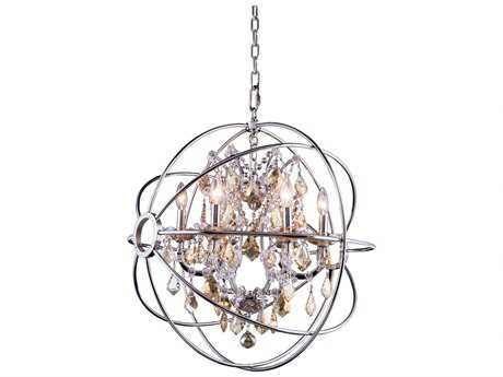 Elegant Lighting Geneva Polished Nickel & Golden Teak Crystal Six-Lights 25'' Wide Chandelier