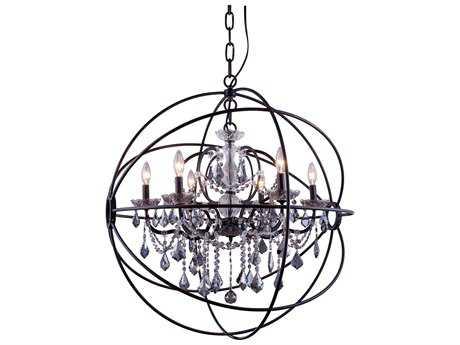 Elegant Lighting Geneva Dark Bronze & Silver Shade Crystal Six-Lights 32'' Wide Chandelier