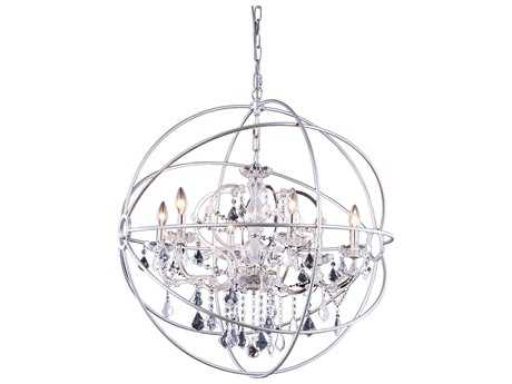 Elegant Lighting Urban Royal Cut Polished Nickel & Crystal Six-Light 32'' Wide Chandelier