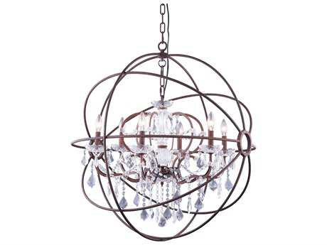 Elegant Lighting Urban Royal Cut Red Rusted Painted & Crystal Six-Light 32'' Wide Chandelier