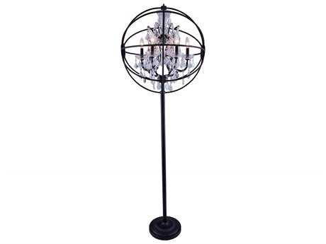 Elegant Lighting Geneva Dark Bronze & Clear Crystal Six-Lights Floor Lamp