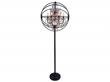 Elegant Lighting Geneva Dark Bronze & Golden Teak Crystal Six-Lights Floor Lamp