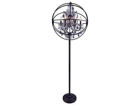 Elegant Lighting Geneva Dark Bronze & Silver Shade Crystal Six-Lights Floor Lamp