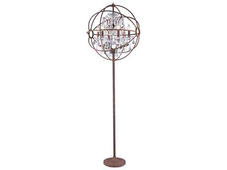 Elegant Lighting Urban Royal Cut Red Rusted Painted & Crystal Six-Light Floor Lamp
