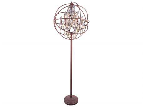 Elegant Lighting Geneva Rustic Intent & Golden Teak Crystal Six-Lights Floor Lamp