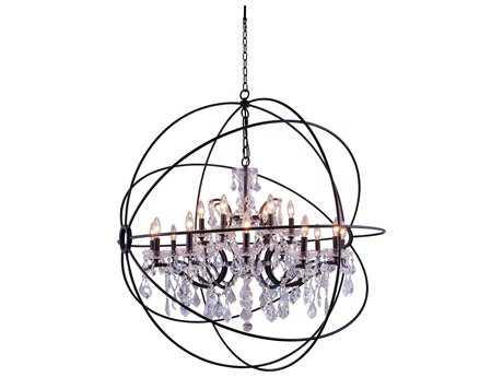 Elegant Lighting Geneva Dark Bronze & Clear Crystal 18-Lights 43.5'' Wide Chandelier