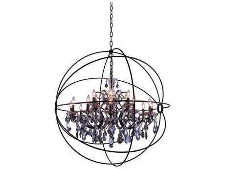 Elegant Lighting Geneva Dark Bronze & Silver Shade Crystal 18-Lights 43.5'' Wide Chandelier
