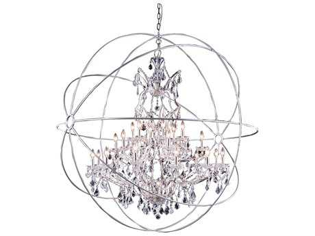 Elegant Lighting Urban Royal Cut Polished Nickel & Crystal 25-Light 60'' Wide Grand Chandelier