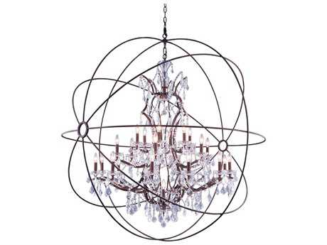 Elegant Lighting Urban Royal Cut Red Rusted Painted & Crystal 25-Light 60'' Wide Grand Chandelier
