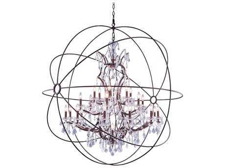 Elegant Lighting Urban Royal Cut Red Rusted Painted & Crystal 25-Light 60'' Wide Grand Chandelier