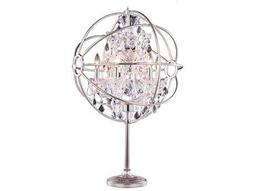 Elegant Lighting Urban Royal Cut Polished Nickel & Crystal Six-Light Table Lamp