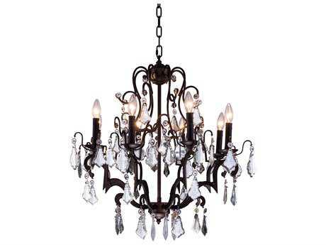 Elegant Lighting Charlotte Antique Bronze & Clear Crystal Eight-Lights 26'' Wide Chandelier