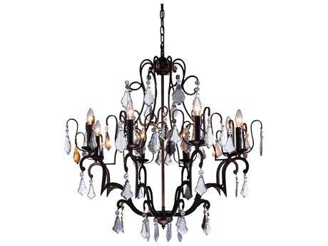 Elegant Lighting Charlotte Antique Bronze & Clear Crystal Eight-Lights 32'' Wide Chandelier