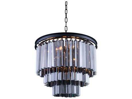 Elegant Lighting Sydney Mocha Brown & Silver Shade Crystal Nine-Lights 20'' Wide Pendant Light