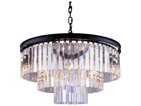 Elegant Lighting Sydney Mocha Brown & Clear Crystal Nine-Lights 26'' Wide Pendant Light