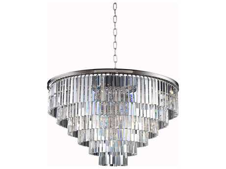 Elegant Lighting Sydney Polished Nickel & Clear Crystal 33-Lights 44'' Wide Pendant Light