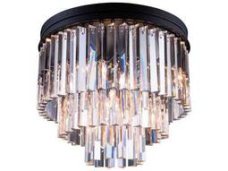 Elegant Lighting Urban Royal Cut Mocha Brown & Crystal Nine-Light 20'' Wide Flush Mount Light