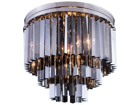 Elegant Lighting Sydney Polished Nickel & Silver Shade Crystal Nine-Lights 20'' Wide Flush Mount Light