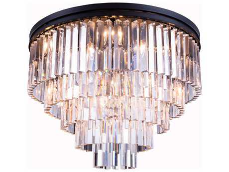 Elegant Lighting Urban Royal Cut Mocha Brown & Crystal 17-Light 32'' Wide Flush Mount Light