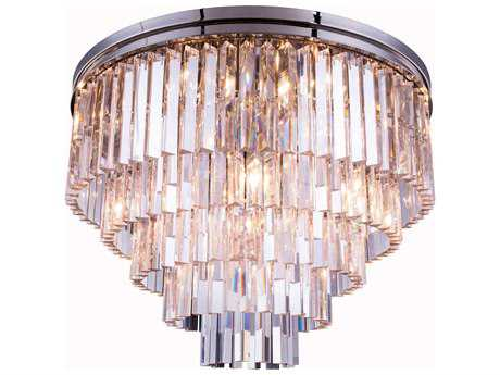 Elegant Lighting Urban Royal Cut Polished Nickel & Crystal 17-Light 32'' Wide Flush Mount Light