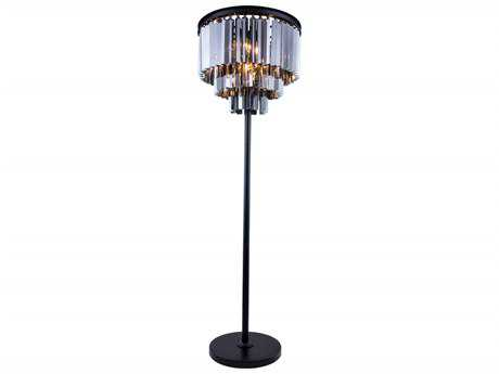 Elegant Lighting Sydney Mocha Brown & Silver Shade Crystal Eight-Lights Floor Lamp