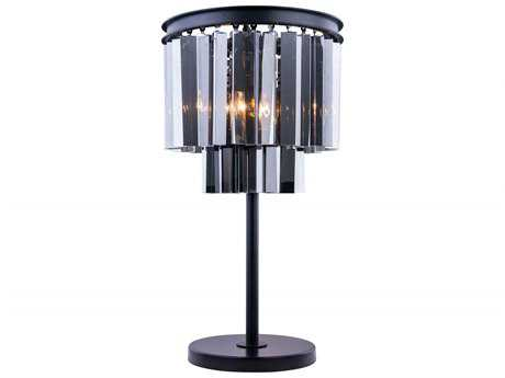 Elegant Lighting Sydney Mocha Brown & Silver Shade Crystal Three-Lights Table Lamp