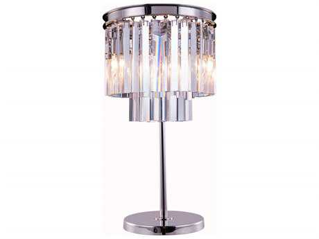 Elegant Lighting Urban Royal Cut Polished Nickel & Crystal Three-Light Table Lamp