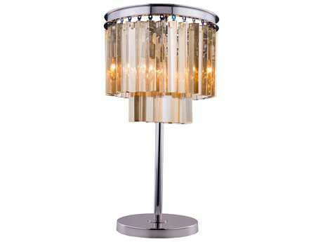 Elegant Lighting Sydney Polished Nickel & Golden Teak Crystal Three-Lights Table Lamp