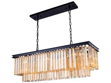 Elegant Lighting Sydney Mocha Brown & Golden Teak Crystal 12-Lights 40'' Long Island Light