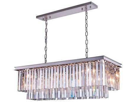 Elegant Lighting Sydney Polished Nickel & Clear Crystal 12-Lights 40'' Long Island Light
