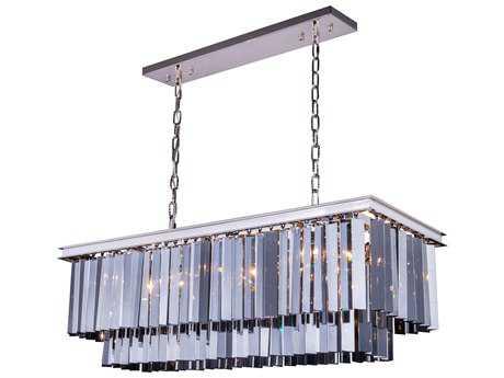 Elegant Lighting Sydney Polished Nickel & Silver Shade Crystal 12-Lights 40'' Long Island Light