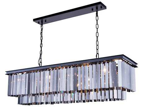 Elegant Lighting Sydney Mocha Brown & Silver Shade Crystal 12-Lights 50'' Long Island Light