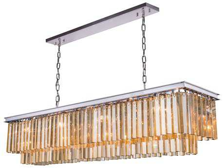 Elegant Lighting Sydney Polished Nickel & Golden Teak Crystal 12-Lights 60'' Long Island Light