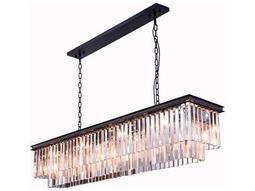 Elegant Lighting Urban Royal Cut Polished Nickel & Crystal 12-Light 60'' Long Island Light