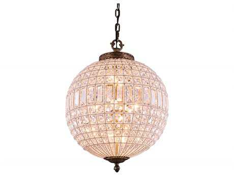 Elegant Lighting Olivia French Gold & Clear Crystal Three-Lights 17.5'' Wide Pendant Light