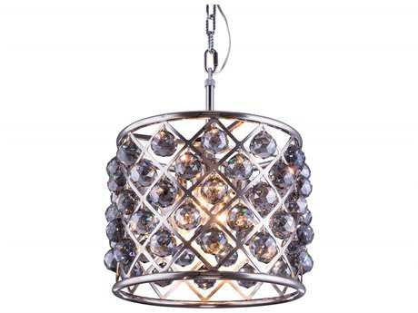 Elegant Lighting Madison Polished Nickel & Silver Shade Crystal Four-Lights 14'' Wide Pendant Light