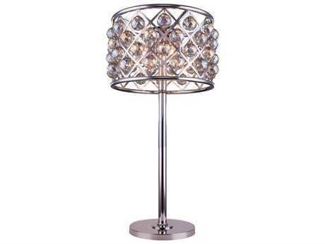 Elegant Lighting Madison Polished Nickel & Golden Teak Crystal Three-Lights Buffet Lamp