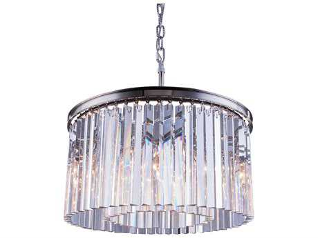 Elegant Lighting Sydney Polished Nickel & Clear Crystal Eight-Lights 26'' Wide Pendant Light