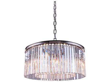 Elegant Lighting Sydney Polished Nickel & Clear Crystal Eight-Lights 31.5'' Wide Pendant Light
