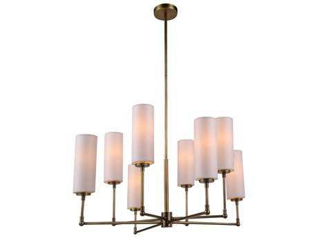 Elegant Lighting Richmond Burnish Brass Eight-Lights 34'' Wide Chandelier