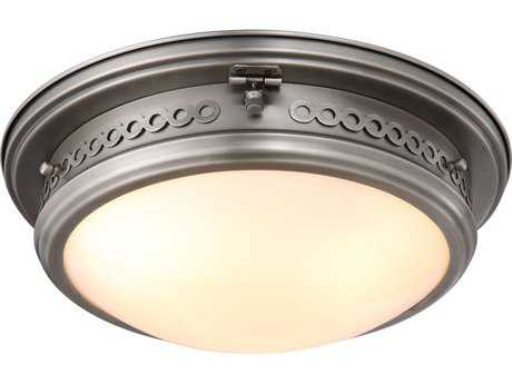 Elegant Lighting Mallory Vintage Nickel Three-Lights 16'' Wide Flush Mount Light