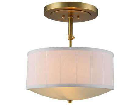 Elegant Lighting Manhattan Burnished Brass Two-Lights 15'' Wide Semi-Flush Mount Light