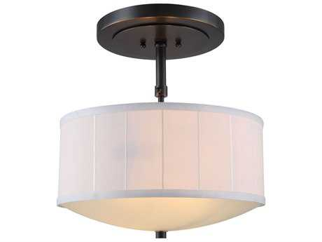 Elegant Lighting Manhattan Bronze Two-Lights 15'' Wide Semi-Flush Mount Light