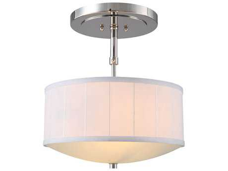 Elegant Lighting Manhattan Polished Nickel Two-Lights 15'' Wide Semi-Flush Mount Light