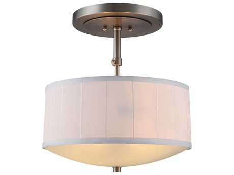 Elegant Lighting Manhattan Vintage Nickel Two-Lights 15'' Wide Semi-Flush Mount Light