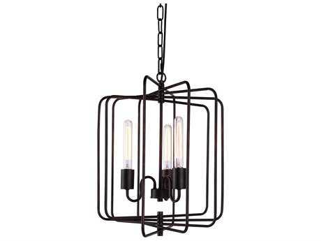 Elegant Lighting Lewis Dark Bronze Three-Lights 16'' Wide Mini Chandelier