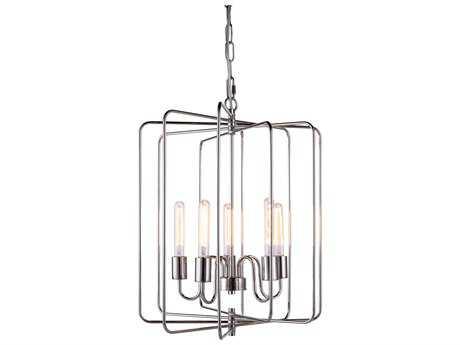 Elegant Lighting Lewis Polished Nickel Five-Lights 20'' Wide Chandelier