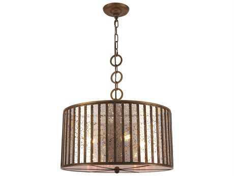 Elegant Lighting Frisco Dark Antique Brass Four-Light 20'' Wide Pendant Light