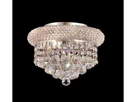 Elegant Lighting Primo Royal Cut Chrome & Crystal Three-Light 10'' Wide Flush Mount Light